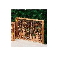 Decoration De Noel Cadre en bois avec decor lumineux H 35 cm - 30x40x5 cm - Marron bois - Generique