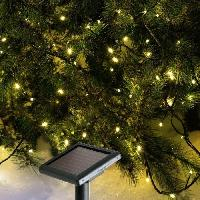 Decoration De Noel Guirlande de Noel lumineuse solaire 96 LED 10 m blanc