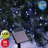Decoration De Noel Guirlande de noel lumineuse solaire 96 LED 10 m bleu