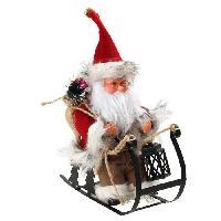 Decoration De Noel Personnage de Noël : Pere Noël automate sur luge - H 25 x 24.5 x 10 cm - Rouge et blanc Aucune