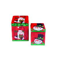 Decoration De Noel Set de 2 boites en metal carres Pere Noel et bonhomme de neige - L 14.5 - 18 cm - Rouge et blanc - Christmas Dream
