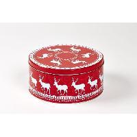 Decoration De Noel Set de 3 boites en metal rondes - H 9 x O 20 cm - Rouge et blanc - Christmas Dream