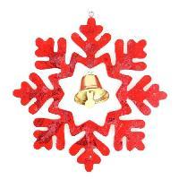 Decoration De Noel Suspension de Noël Flocon Bois - 18 x 18 cm - Rouge Aucune