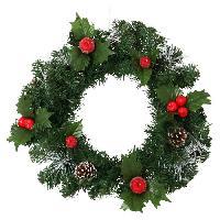 Decoration Du Jardin Décoration de Noël Couronne Tradition avec décors Pommes de pin et Pommes - Ø 40 cm - Vert. blanc et rouge
