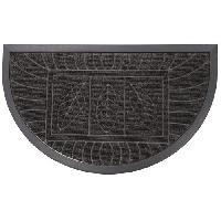 Decoration Du Sol Tapis d'entree 45x75cm demi-lune feuilles noir
