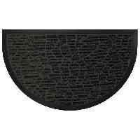 Decoration Du Sol Tapis d'entree 45x75cm demi-lune galets noir