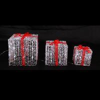 Decoration Lumineuse 3 Paquets-cadeaux solaire lumineux - 60 LED - 14 20 25 cm - Blanc froid
