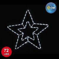 Decoration Lumineuse Etoile lumineuse de noel blanche double niveau 56 cm 72 LED