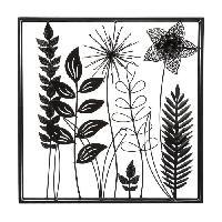 Decoration Murale - Tableau - Cadre Photo - Sticker Déco murale en métal feuilles - 40 x 40 cm - Noir