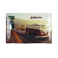 Decoration Murale - Tableau - Cadre Photo - Sticker Enseigne Metal Vw T14 Bus - Highway 1