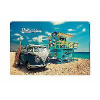 Decoration Murale - Tableau - Cadre Photo - Sticker Enseigne Metal Vw T1 Bus Beach Life 20x30cm