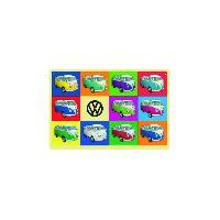 Decoration Murale - Tableau - Cadre Photo - Sticker Enseigne plaque metal VW T1 BUS Combi 20x30cm