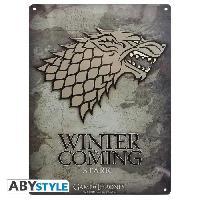 Decoration Murale - Tableau - Cadre Photo - Sticker Plaque en metal Game Of Thrones - Stark -28x38- Broch. - ABYstyle