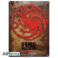 Decoration Murale - Tableau - Cadre Photo - Sticker Plaque en metal Game Of Thrones - Targaryen -28x38- - ABYstyle