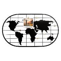 Decoration Murale - Tableau - Cadre Photo - Sticker Porte-photo carte du monde en métal - 60 x 35 cm - Noir