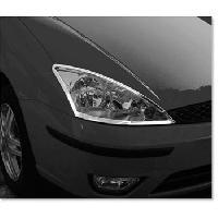 Decorations Chrome Exterieures 2 Entourages de Phares Adaptables pour Ford Focus - Chrome