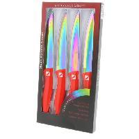 Decoupe Des Aliments ALBERT DE THIERS Coffret de 4 couteaux a steak rouge STORM