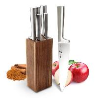 Decoupe Des Aliments BACKEN 200603 - Bloc Couteaux de cuisine 6 pieces - Acier inoxydable - Monobloc - Inox