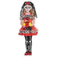 Deguisement - Panoplie Costume Fille Sugar Skull Senorita - 1416 ans