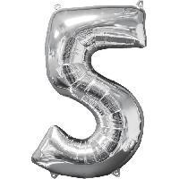 Deguisement - Spectacle AMSCAN Ballon chiffre 5 - 51 x 66 cm - Argent