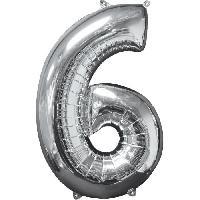 Deguisement - Spectacle AMSCAN Ballon chiffre 6 - 51 x 66 cm - Argent
