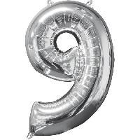 Deguisement - Spectacle AMSCAN Ballon chiffre 9 - 51 x 66 cm - Argent