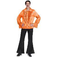 Deguisement - Spectacle Costume adulte chemise satinée orange taille petite
