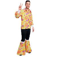 Deguisement - Spectacle Costume adultes 60's chemise Flower Power taille Standard