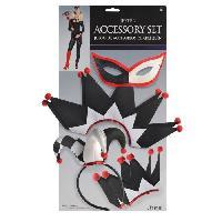 Deguisement - Spectacle Kit Accessoires Jesterina - masque. colerette et gants. diademe