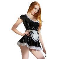 Deguisements Tenue de femme de chambre en vinyl - Noir et blanc - Taille S
