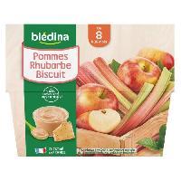Dessert Fruite - Compote - Puree Fruit Bebe BLEDINA - Coupelles pommes rhubarbe biscuit 4x100g