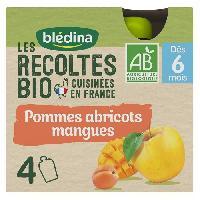 Dessert Fruite - Compote - Puree Fruit Bebe BLEDINA - Gourde pomme mangue abricot BIO 4x90g