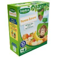 Dessert Fruite - Compote - Puree Fruit Bebe BLEDINA Gourdes de fruits Pomme banane - 4x90 g - Des 10 mois