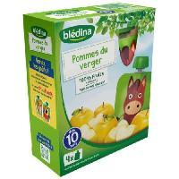 Dessert Fruite - Compote - Puree Fruit Bebe BLEDINA Gourdes de fruits Pomme du Verger 4x90 g - Des 10 mois