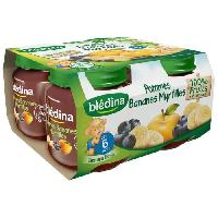 Dessert Fruite - Compote - Puree Fruit Bebe BLEDINA Petits pots Pomme Bananes Myrtilles - 4x130 g - Des 6 mois