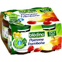 Dessert Fruite - Compote - Puree Fruit Bebe BLEDINA Petits pots Pomme Framboise - 4x130 g - Des 6 mois