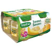 Dessert Fruite - Compote - Puree Fruit Bebe BLEDINA Petits pots Pommes et bananes - 4x130 g - Des 4/6 mois