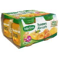 Dessert Fruite - Compote - Puree Fruit Bebe BLEDINA Petits pots Purée de fruits Pomme abricots - 4x130 g - Des 4/6 mois