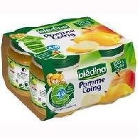 Dessert Fruite - Compote - Puree Fruit Bebe BLEDINA Petits pots Purée de fruits Pomme coing - 4x130 g - des 4/6 mois - Nestle