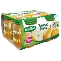 Dessert Fruite - Compote - Puree Fruit Bebe BLEDINA Petits pots Purée de fruits Pomme poires - 4x130 g - Des 4/6 mois - Naturnes