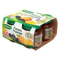 Dessert Fruite - Compote - Puree Fruit Bebe BLEDINA Petits pots Purée de fruits Pomme pruneaux - 4x130 g - Des 4/6 mois