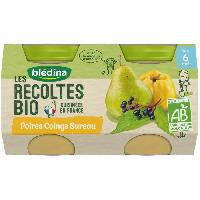 Dessert Fruite - Compote - Puree Fruit Bebe BLEDINA Petits pots poires Coings sureau Les récoltes Bio - Des 6 mois - 2 x 130 g