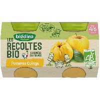 Dessert Fruite - Compote - Puree Fruit Bebe BLEDINA Petits pots pommes Coings Les récoltes Bio - Des 4 mois - 2 x 130 g