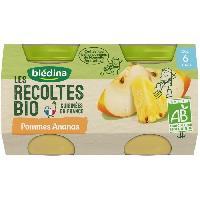 Dessert Fruite - Compote - Puree Fruit Bebe BLEDINA Petits pots pommes ananas Les récoltes Bio - Des 6 mois - 2 x 130 g