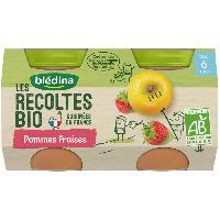 Dessert Fruite - Compote - Puree Fruit Bebe BLEDINA Petits pots pommes fraises Les récoltes Bio - Des 6 mois - 2 x 130 g