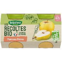 Dessert Fruite - Compote - Puree Fruit Bebe BLEDINA Petits pots pommes poires Les récoltes Bio - Des 4 mois - 2 x 130 g