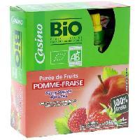 Dessert Fruite - Compote - Puree Fruit Bebe Gourdes puree de fruit - Pomme fraise - Bio - 4x90g