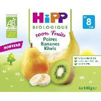 Dessert Fruite - Compote - Puree Fruit Bebe HIPP BIOLOGIQUE 100% fruits Compote Poire banane kiwi - 4x100 g - Des 8 mois