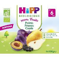 Dessert Fruite - Compote - Puree Fruit Bebe HIPP BIOLOGIQUE 100% fruits Compote Poire prune cassis - 4x100g - Des 6 mois