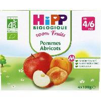 Dessert Fruite - Compote - Puree Fruit Bebe HIPP BIOLOGIQUE 100% fruits Compote Pommes Abricots - 4x100 g - Des 4/6 mois